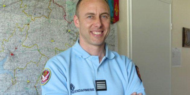 Le lieutenant-colonel de gendarmerie Arnaud Beltrame, sur une photo de La Gazette de la Manche prise...