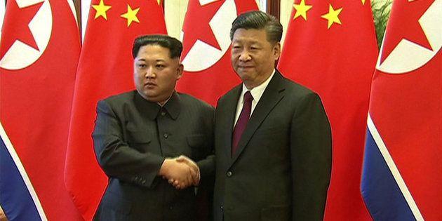 Kim Jong Un et Xi Jinping à Pékin le 27 mars