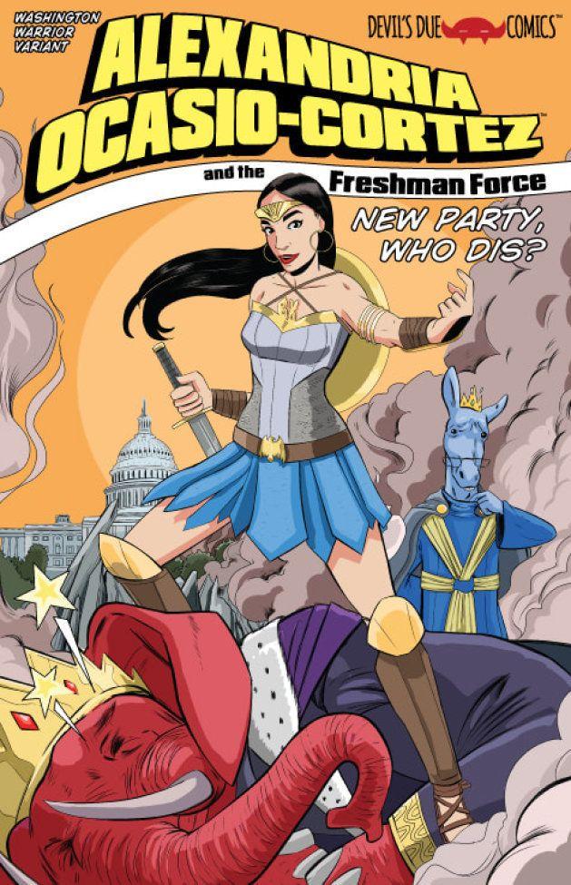 Alexandria Ocasio-Cortez en Wonder Woman sur une couverture alternative du comics