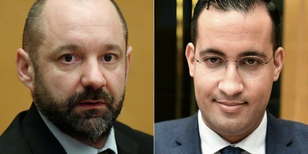 Vincent Crase et Alexandre Benalla lors de leur audition au Sénat, en janvier