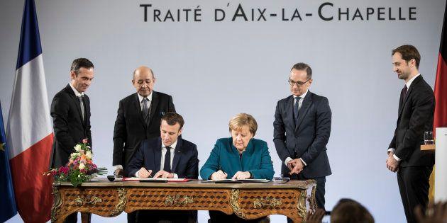 Signature du Traité d'Aix-la-Chapelle entre Emmanuel Macron et Angela Merkel, le 22 janvier