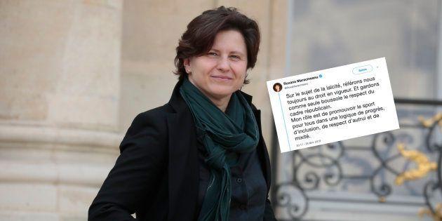 Roxana Maracineanu en sortie de Conseil des ministres à l'Elysée