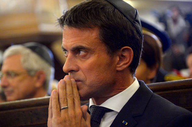 French Prime Minister Manuel Valls attends a ceremony at the Nazareth synagogue, as part of the presentation...