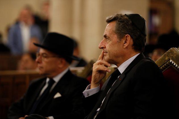Former French president Nicolas Sarkozy attends a homage to France's late former Grand Rabbi Joseph Sitruk,...