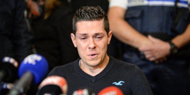 Jonathann Daval lors d'une conférence de presse à Gray le 2 novembre
