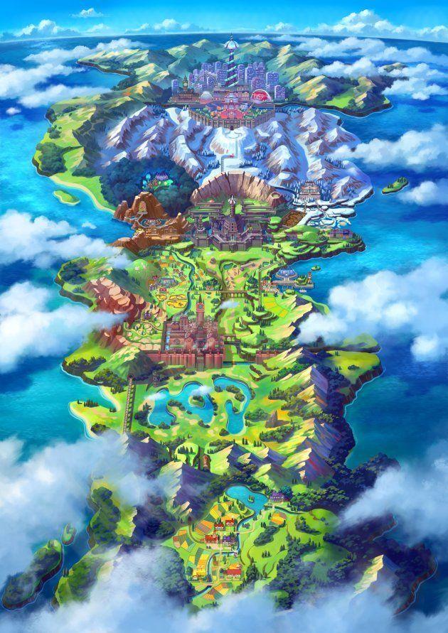 La carte de la région de Galar, le terrain de jeu de cette nouvelle aventure