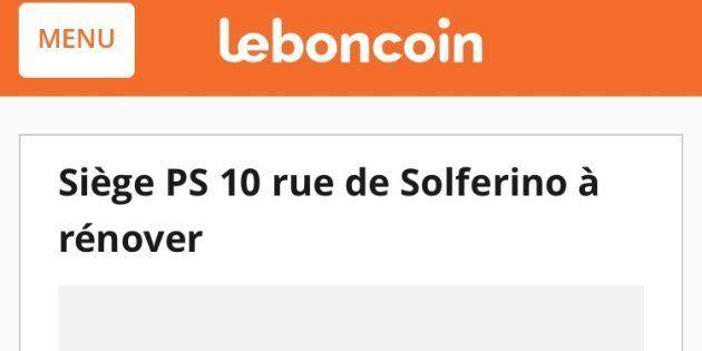 Résultats législatives 2017: le siège du PS mis en vente sur Le Bon