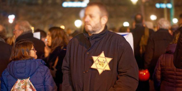 Lors du rassemblement contre l'antisémitisme, le 19 février 2019 Place de la République à