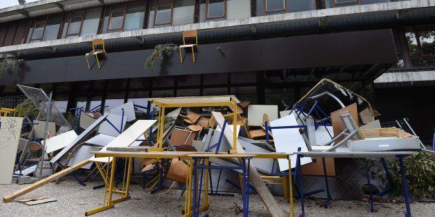 Un amphithéâtre de l'université Paul-Valéry-Montpellier bloqué par les étudiants, le 27 mars