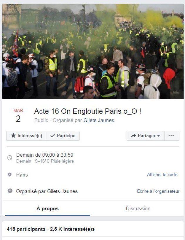 Cet évènement, l'un des plus suivi et prévu à Paris, ne donne aucune précision sur le lieu précis du