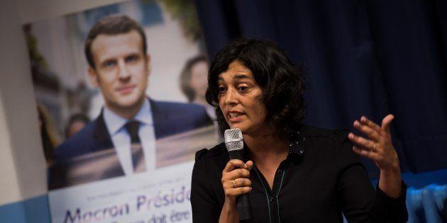 Myriam El Khomri lors d'un meeting de soutiens de LREM à Paris le 1er juin