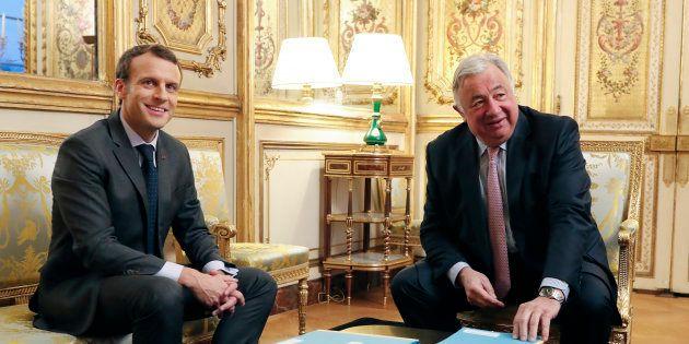 Emmanuel Macron et Gérard Larcher à l'Elysée au mois de novembre