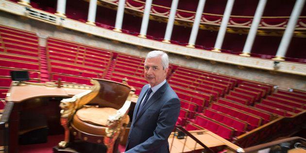 Le Président de l'Assemblée nationale Claude Bartolone vu dans l'hémicycle du Palais