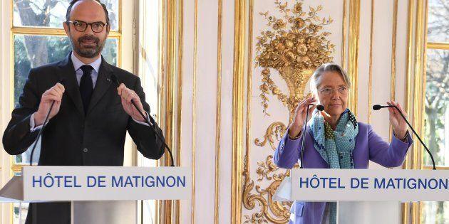 Edouard Philippe et Elisabeth Borne à Matignon le 26 février