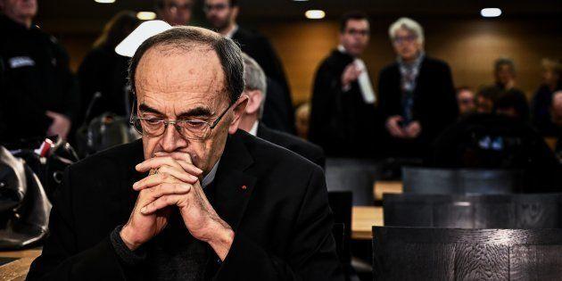 Le cardinal Philippe Barbarin lors de son procès à Lyon le 7 janvier