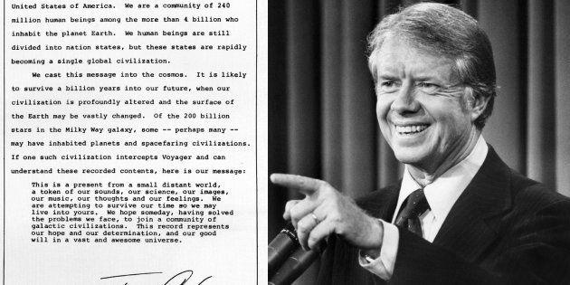 Il y a 40 ans, Jimmy Carter écrivait aux extraterrestres une lettre qui voyage encore dans l'espace