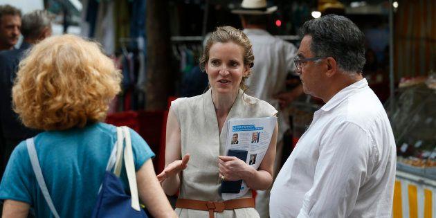 Nathalie Kosciusko-Morizet sur le marché de Place Maubert avant son