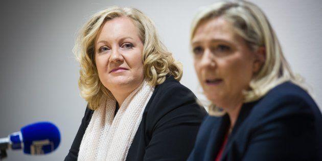 Sophie Montel et Marine Le Pen lors d'une conférence de presse en