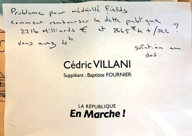 Résultats des Léglslatives 2017: cet électeur a adressé un problème de maths à Cédric Villani via les