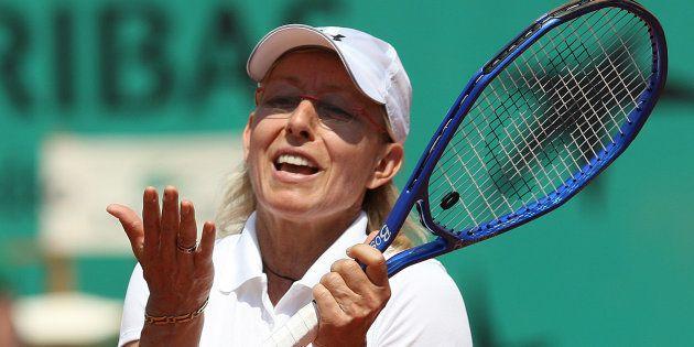 Martina Navratilova à Roland Garros en 2010 pour le Trophée des