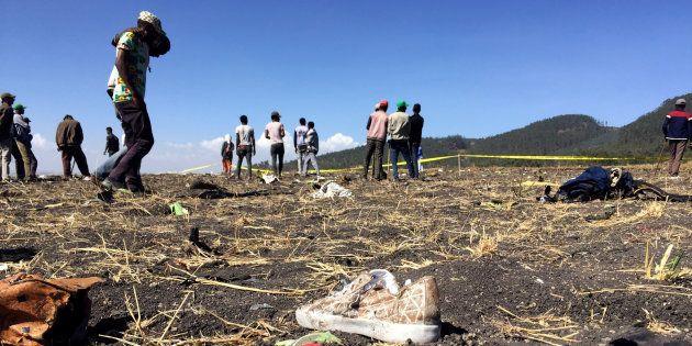 Le site du crash du Boeing 737 d'Ethiopian Airlines à Bishoftu, près d'Addis Ababa, le 10