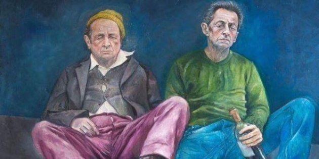 Nicolas Sarkozy et François Hollande imaginés en réfugiés par l'artiste Abdalla al