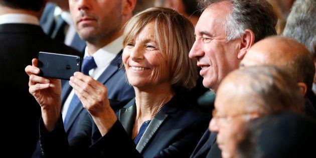 François Bayrou et Marielle De Sarnez à l'Elysée le 14