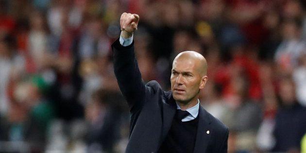 Zinedine Zidane sur le banc du Real Madrid lors de sa dernière finale de Ligue des