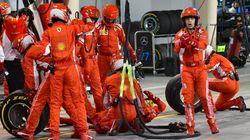 Räikkönen renverse l'un de ses mécaniciens Ferrari lors d'un arrêt au