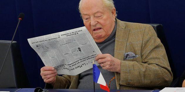 Jean-Marie Le Pen, en mars 2018, dans l'hémicycle du Parlement européen où les eurodéputés ont voté ce...