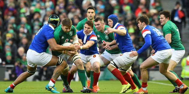 Lors d'Irlande-France au Tournoi des 6 Nations à Dublin, le 10
