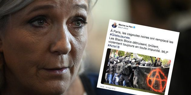 Marine Le Pen, ici le 14 février à Chassieu, près de Lyon, a utilisé une photo vieille de 10 mois pour...