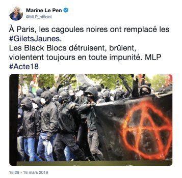 Gilets jaunes: Marine le Pen dénonce les
