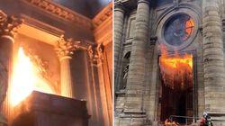 Incendie dans l'église Saint-Sulpice à Paris, le feu