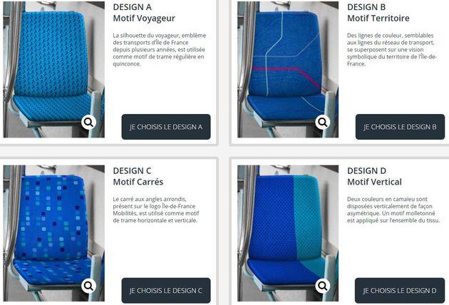 Vous pouvez voter pour choisir le look des sièges des transports publics