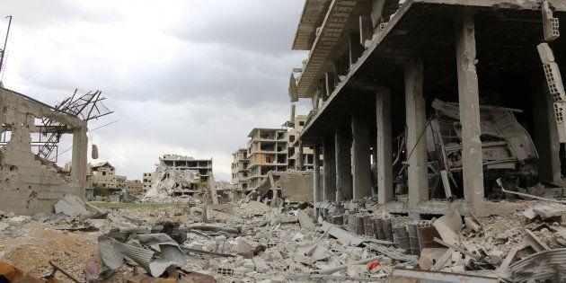 Saqba, une ville anciennement détenue par les rebelles dans la région de la Ghouta en Syrie, le 10 avril