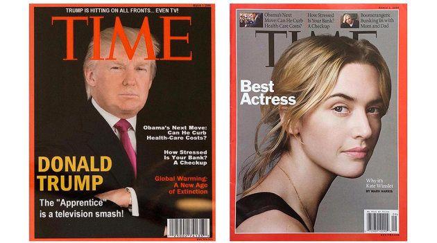 À gauche, la fausse couverture exposée dans des hôtels Trump. À droite, la vraie couverture publiée par...