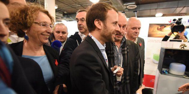 Emmanuel Macron et Muriel Pénicaud rencontrent des dirigeants de start-ups, le 7 janvier 2016 au CES...