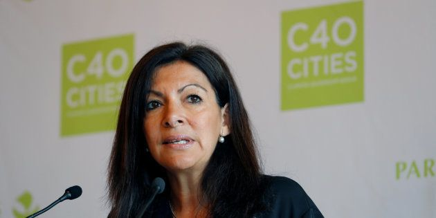 Paris Mayor Anne Hidalgo speaks at a news conference after U.S. President Donald Trump's decision that...
