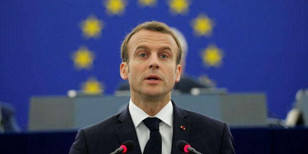 Le président Emmanuel Macron s'exprimant devant le Parlement