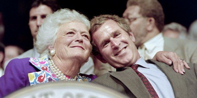 Barbara Bush et son fils George W. Bush à Houston en
