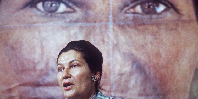 Simone Veil, ministre de la Santé, candidate aux élections européennes, lors d'un discours en mai 1979,...