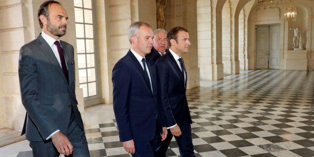 Le Premier ministre Edouard Philippe, le président de l'Assemblée nationale François de Rugy, le Président...