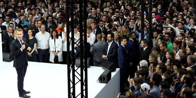 Le Président Emmanuel Macron lors de l'inauguration de l'incubateur de start-up Station F le 29 juin