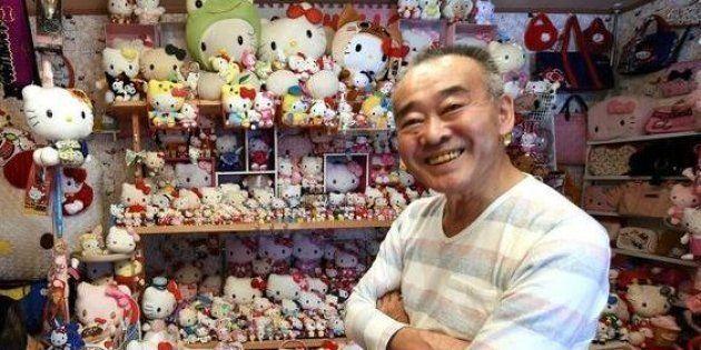 L'ancien policier Masao Gunji présente fièrement sa collection Hello