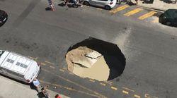 L'effondrement spectaculaire d'un pan de chaussée sur le chantier du tramway à