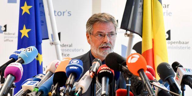 Le porte-parole du parquet fédéral Eric Van der Sypt lors d'une conférence de presse le 21 juin à