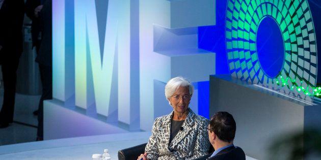 Christine Lagarde avec le Secrétaire au Trésor des Etats-Unis Steven Mnuchin, le 22 avril 2017 à