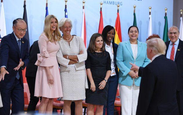 Ivanka Trump et la présidente du FMI Christine Lagarde sous les yeux de Donald