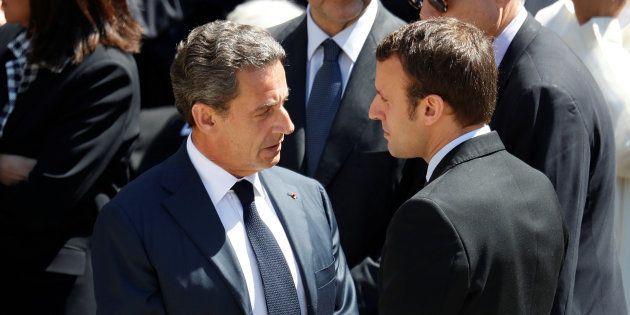 Nicolas Sarkozy et Emmanuel Macron aux Invalides à Paris le 7 juillet